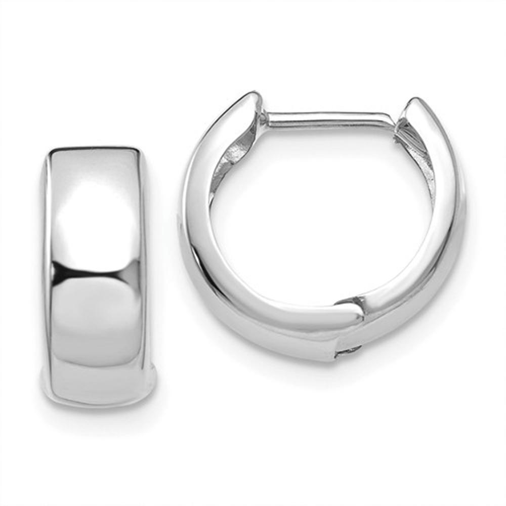 8c9642baf 14k White Gold Hinged Huggie Hoop Earrings (5mm), 1/2 inch (13mm) in ...