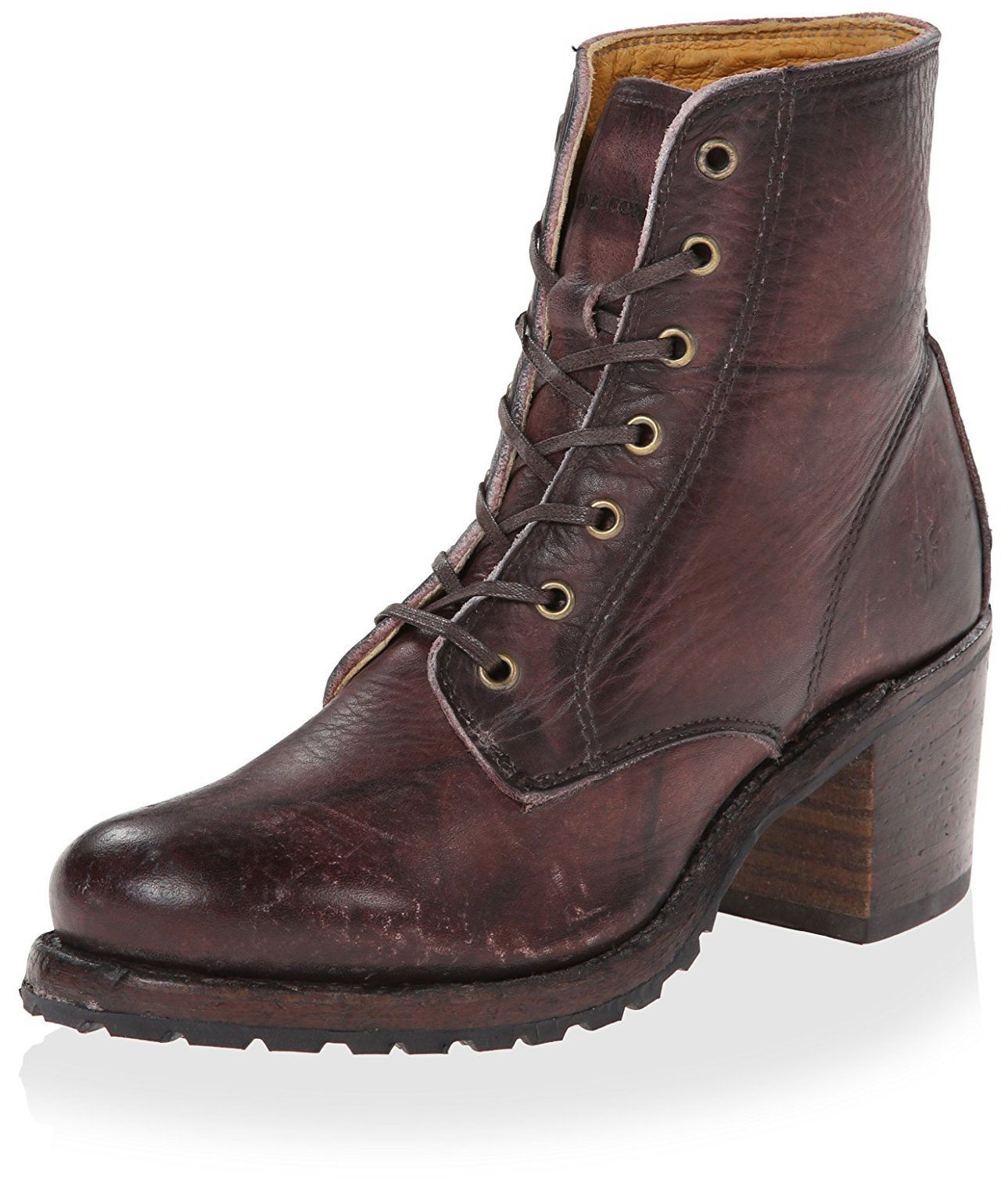 a54e96b7410 Frye Women's Sabrina 6G Lace Up Ankle Boot, Walnut, 7.5 M US. Dyed ...