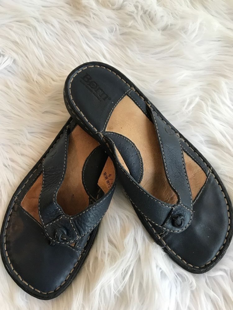 3eb3f6bc22a1dd Born Women s Leather Sandals Flip Flop Thong Size 6 36.5 Navy Blue ...