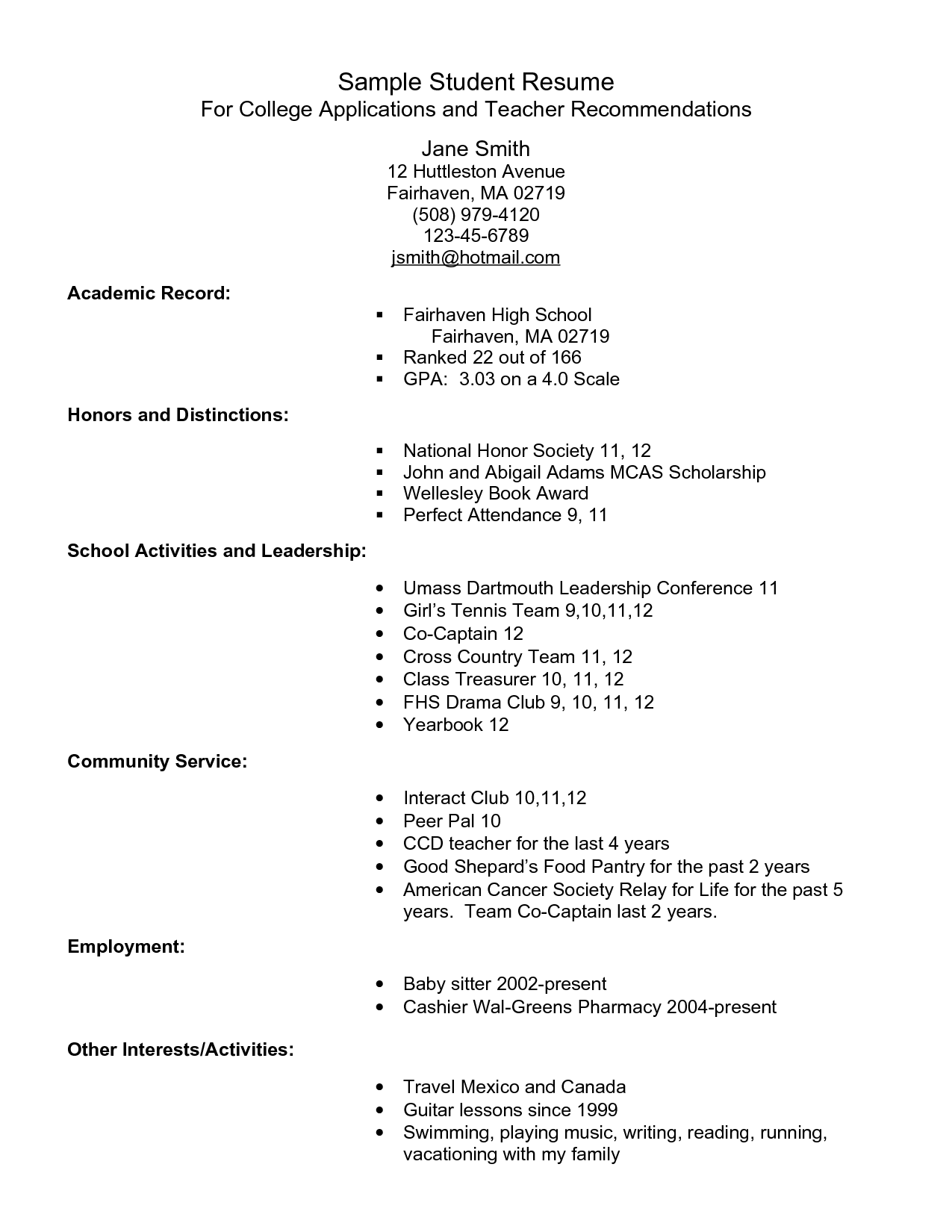 Example Resume For High School Students For College Applications Sample Student  Resume   PDF By Smapdi59  How To Make A Resume As A Highschool Student
