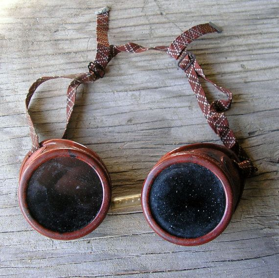 Bakelite Welding Goggles 1950 Vintage  | Steampunk, Industrial, Clear & Blackish Green Lenses | Bakelite Frame | Retro, Mid Century #774