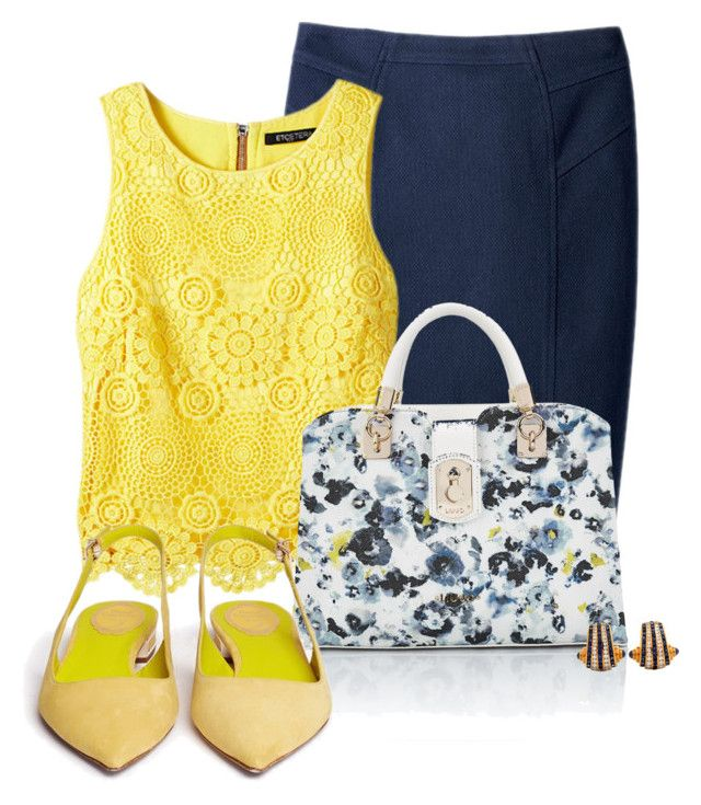 """Office outfit: Yellow - Navy - Floral"" by downtownblues ❤ liked on Polyvore featuring Etcetera and René Caovilla"