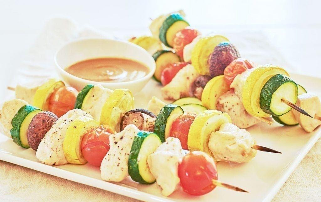 Chicken-Veggie Skewers with Peanut Sauce #myfitnesspalrecipes