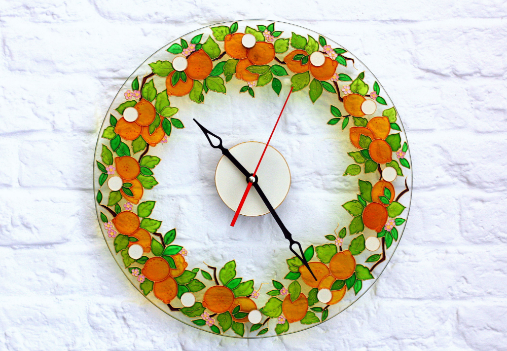 Stain Glass Kitchen Clock Hand Paint Glass Clock Round Etsy In 2020 Mediterranean Wall Decor Glass Painting Wall Clock Painting