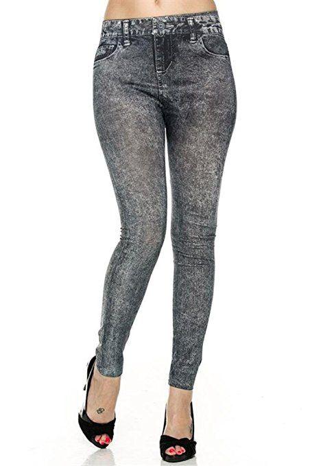 806e3f52471  7.99   FREE Shipping Women s Denim Print Fake Jeans Seamless Full Length  Leggings at Amazon Women s