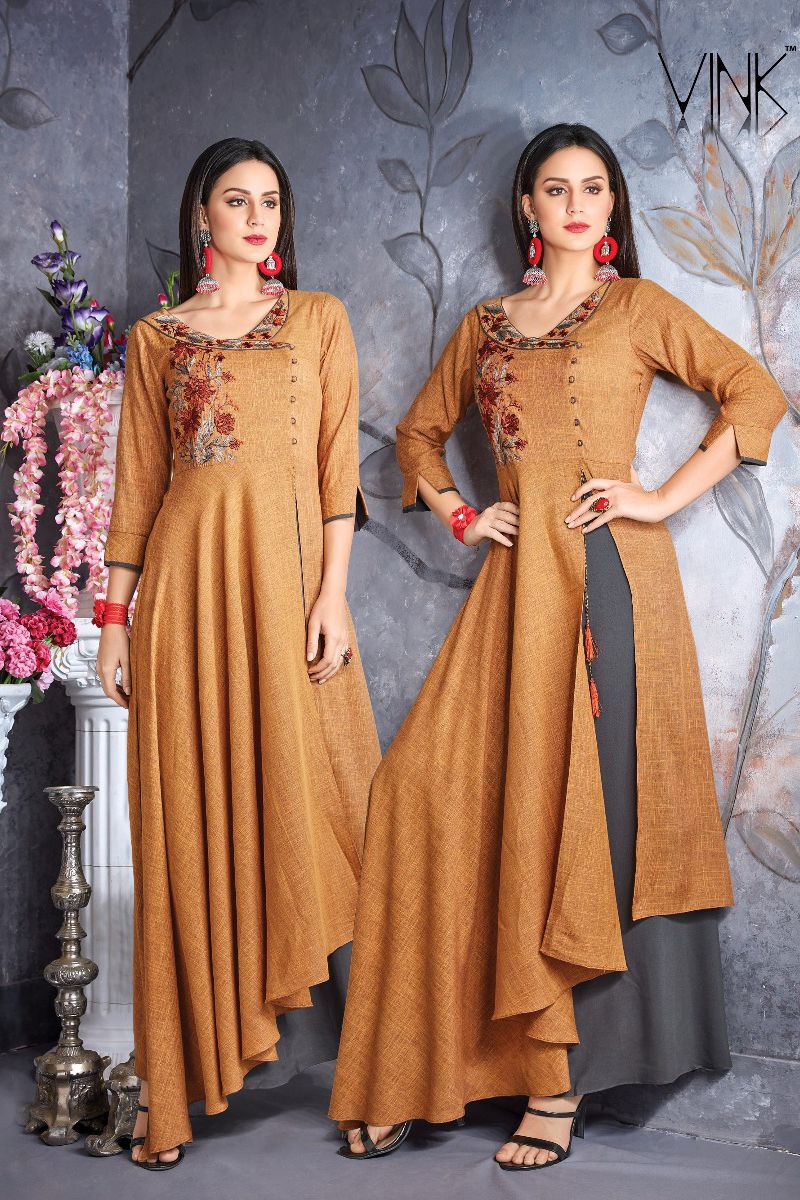 Brown Designer Party Wear Cotton Embroidered Floor Length Gown 353 31973 Whatsapp 91 93777095 Kurti Designs Party Wear Designer Kurti Patterns Cotton Gowns