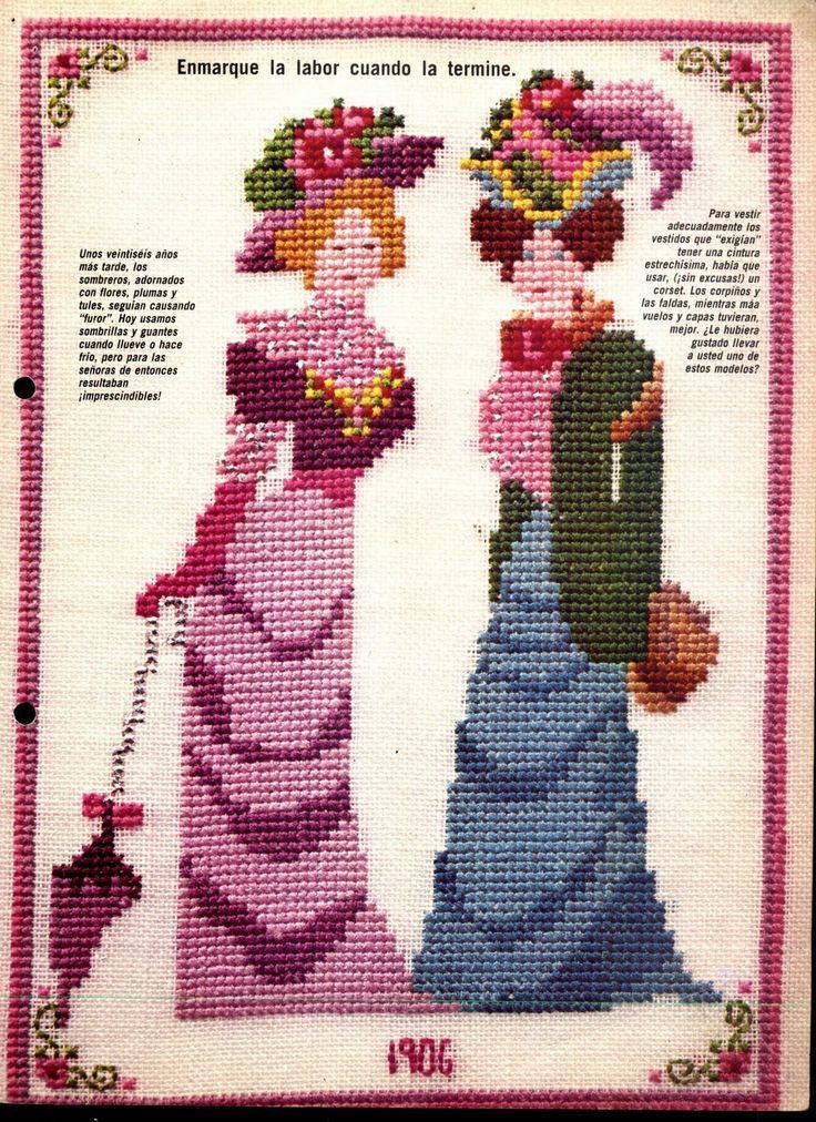 0 point de croix mode femme 1900 cross stitch lady fashion 1900s cross stitch kanavi e. Black Bedroom Furniture Sets. Home Design Ideas