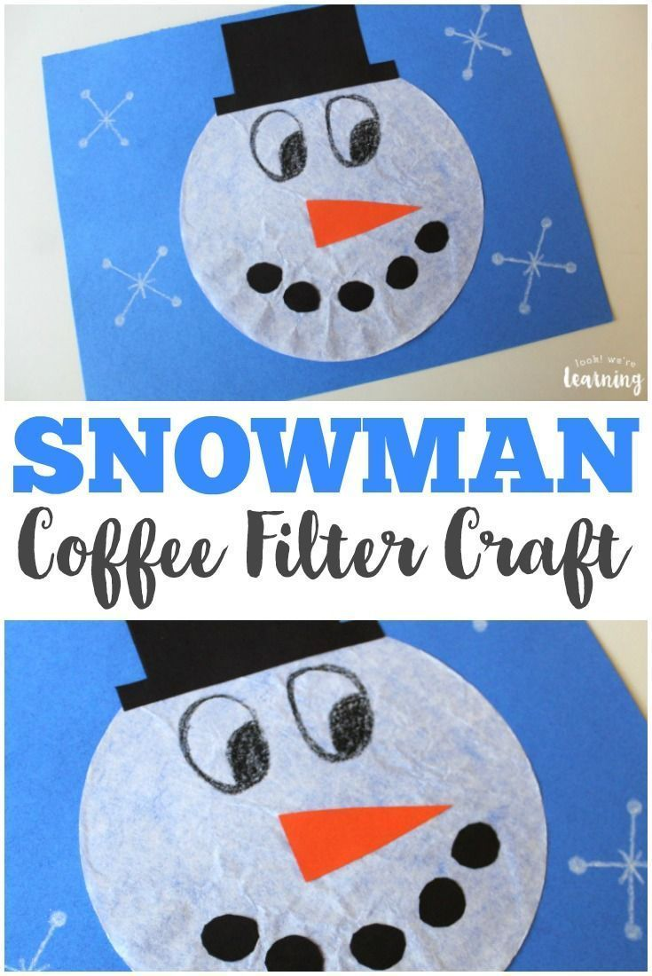 Make this cute coffee filter snowman craft with the kids on a winter  afternoon! #
