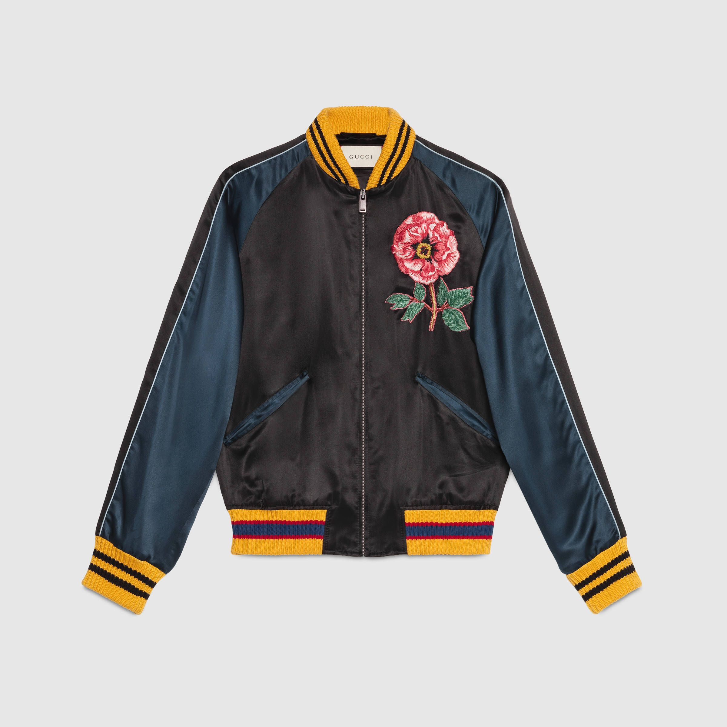 84604756 gucci silk-satin printed bomber jacket | Silk bomber jacket with ...