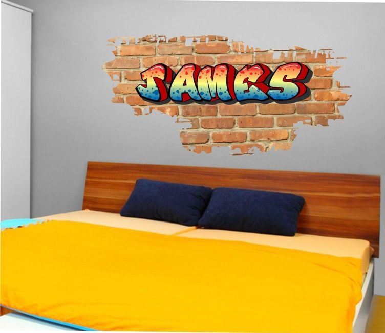 Personalised graffiti brick name wall art stickerdecal graphicbedroom