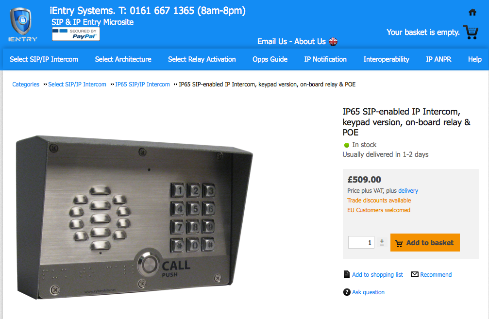 Sip Door Entry Intercoms For Voip Networks Uk Eu Sip And Ip