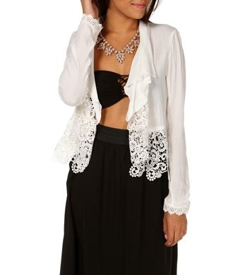 Ivory Crochet Trim Jacket