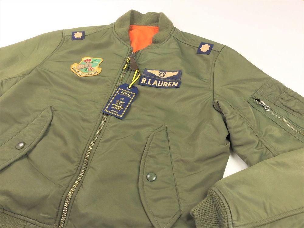 e695aa10c404 Polo Ralph Lauren Men Military Army MA-1 Flight Bomber Jacket Olive  #PoloRalphLauren #FlightBomber