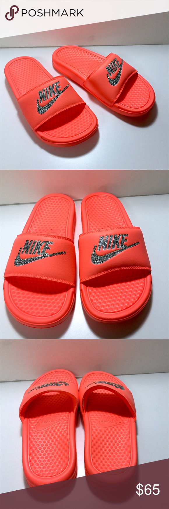 e141c8d330f9 Custom Blinged Mango Color Nike Benassi Slides Mango color CUSTOM MADE Nike  slides
