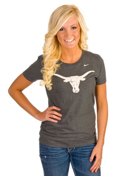 Great Texas Longhorns Womens Grey Vertical Back T-Shirt Longhorns Football 98f4b0ed54