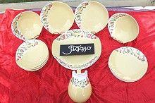 60-tallets dekketøy var gjennomført stilig. Her et dessertsett fra Figgjo.