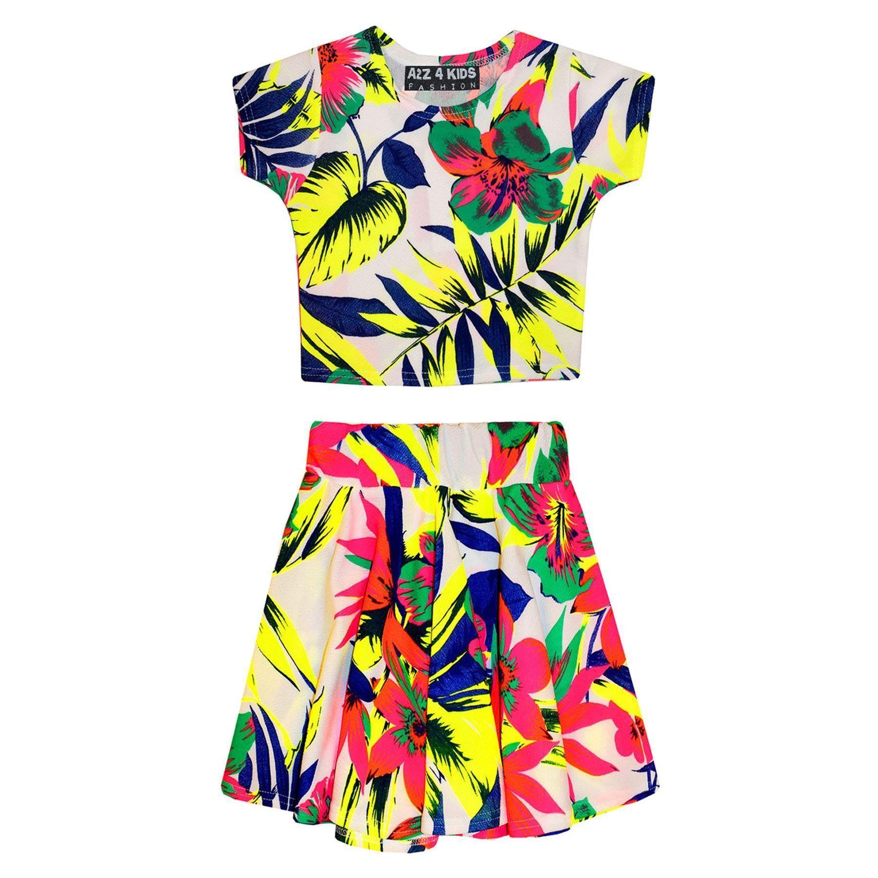 03572ea3b Kids Girls Floral Tropical Stylish Crop Top & Fashion Skater Skirt Set 7-13  Year