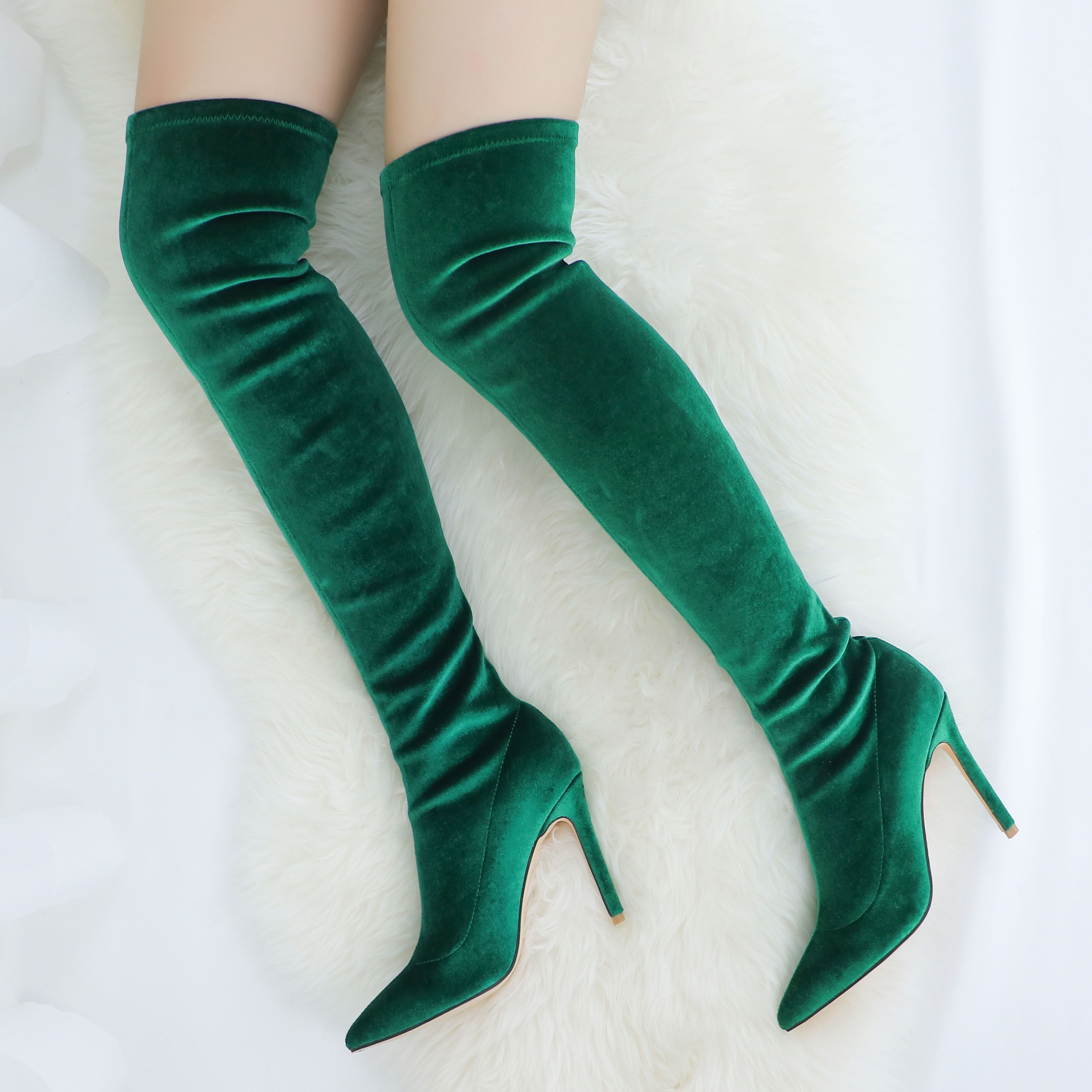 3999459528c Women's Fashion Velvet Green Boots Over Knee | Boots, booties, and ...
