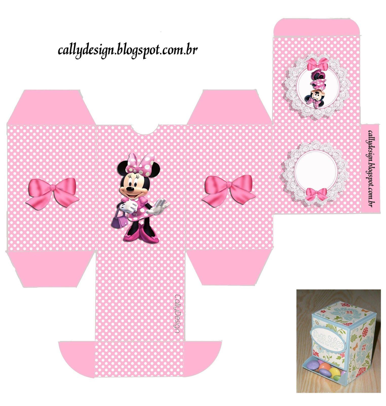 f88ae952b Minnie con Rayas Rosa: Cajas para Cumpleaños para Imprimir Gratis ...