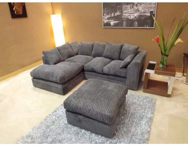 Dylan Jumbo Cord Charcoal Grey Corner Sofa With Matching Foot Stool Dark Grey Grey Corner Sofa Corner Sofa Corner Sectional Sofa