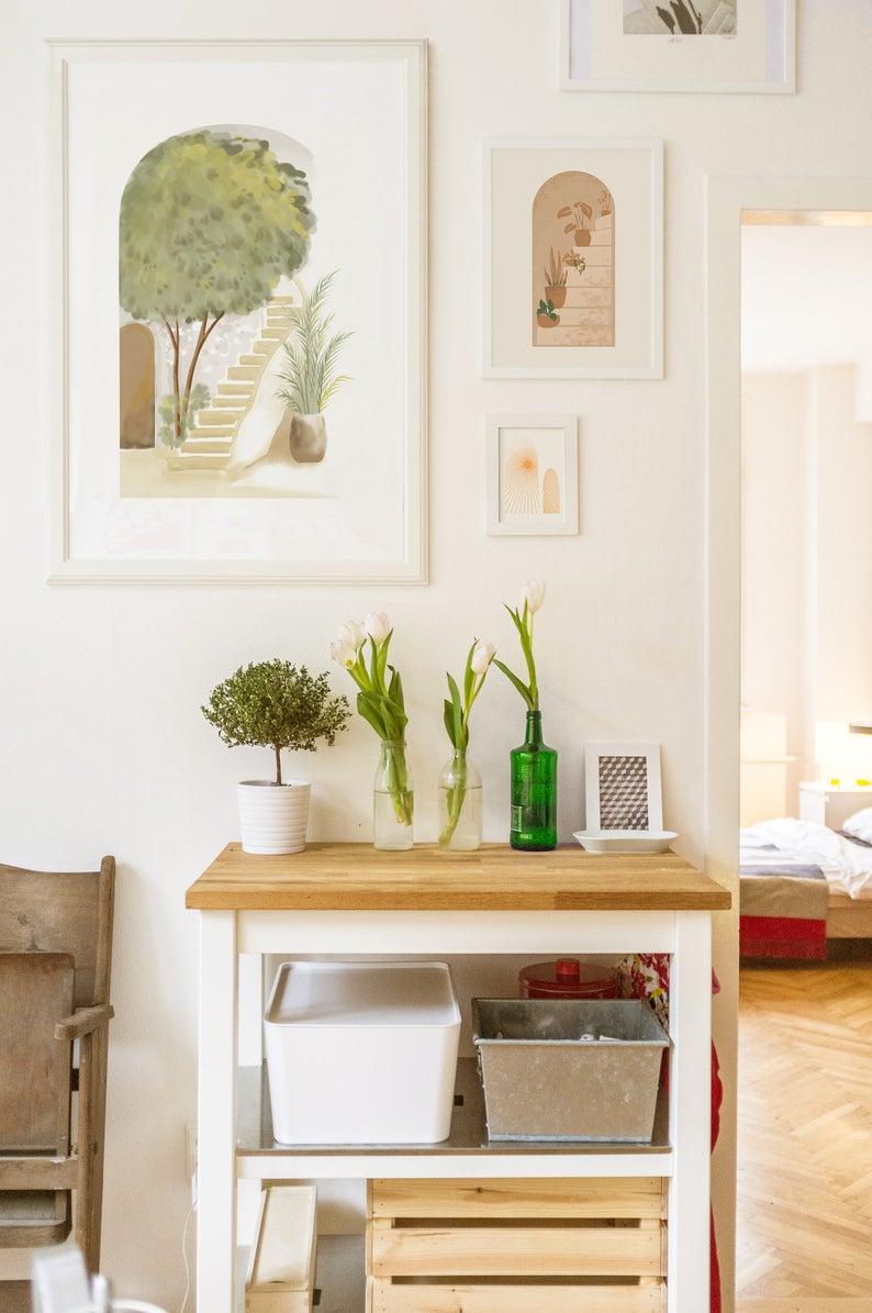 Patio Modern Art Landscape Painting Printable Art Boho Wall Decor Living Room Wall Decor Aesthetic Room Decor In 2020 Aesthetic Room Decor Aesthetic Rooms Landscape Paintings