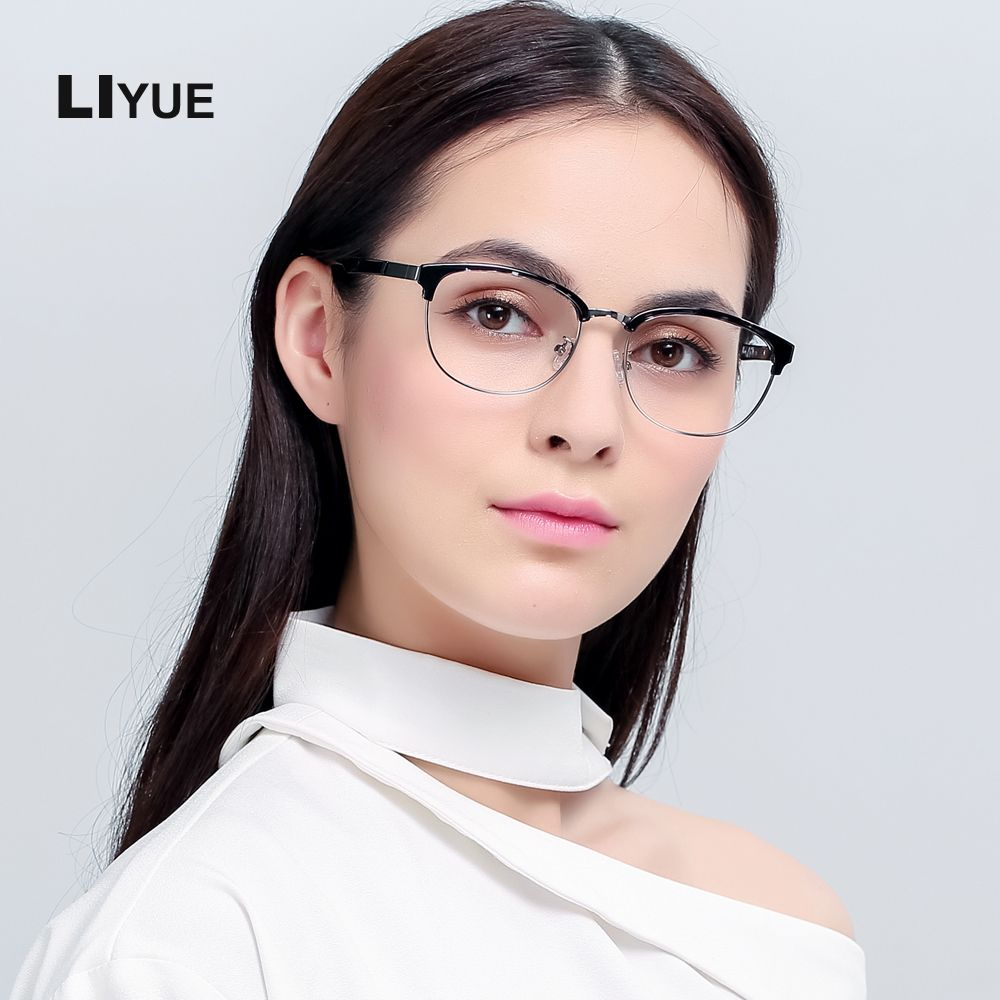 32efc861a9 LIYUE Korean glasses women optical frame vintage 2017 Prescription eyewear  frames men Oval round metal glasses