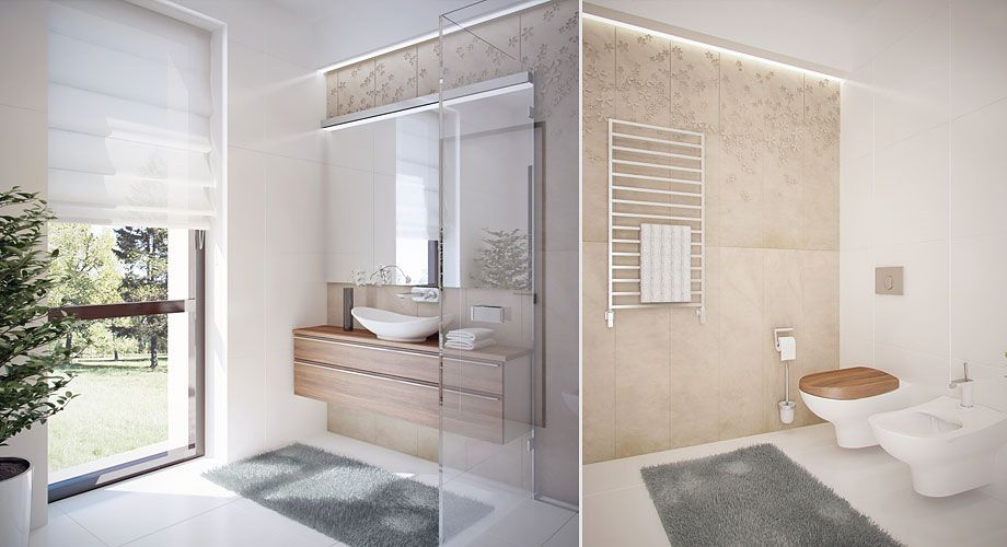 the interior rich of wooden element give warmth to the space home - salle de bains beige