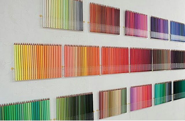 500 Colored Pencils Hanging On The Wall Byle Bur Sete Kim