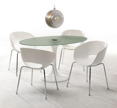 Eggshell Chairs Esstisch Glas Esszimmer Weiss Esstisch