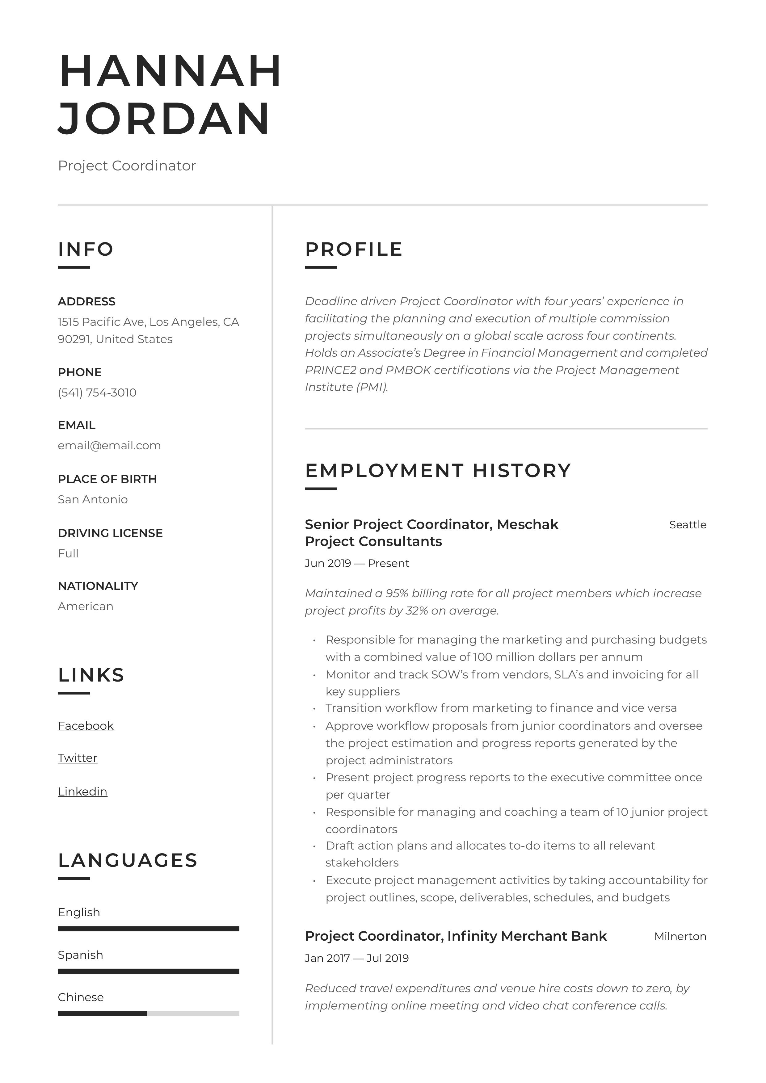 Project coordinator resume writing guide in 2020 with