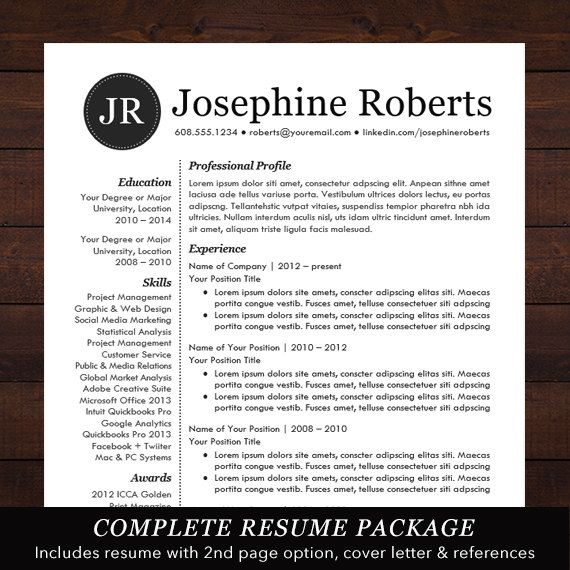 ☆ INSTANT DOWNLOAD RESUME TEMPLATE - WORD FORMAT ☆ Need a resume - a resume template on word