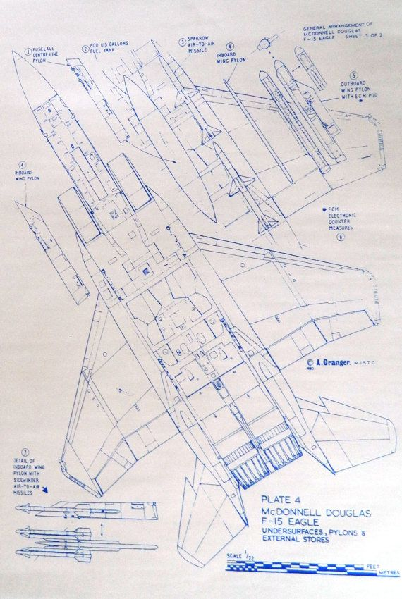 Aircraft Carrier Engine Room: USA F15 Eagle Fighter Blueprint By BlueprintPlace On Etsy