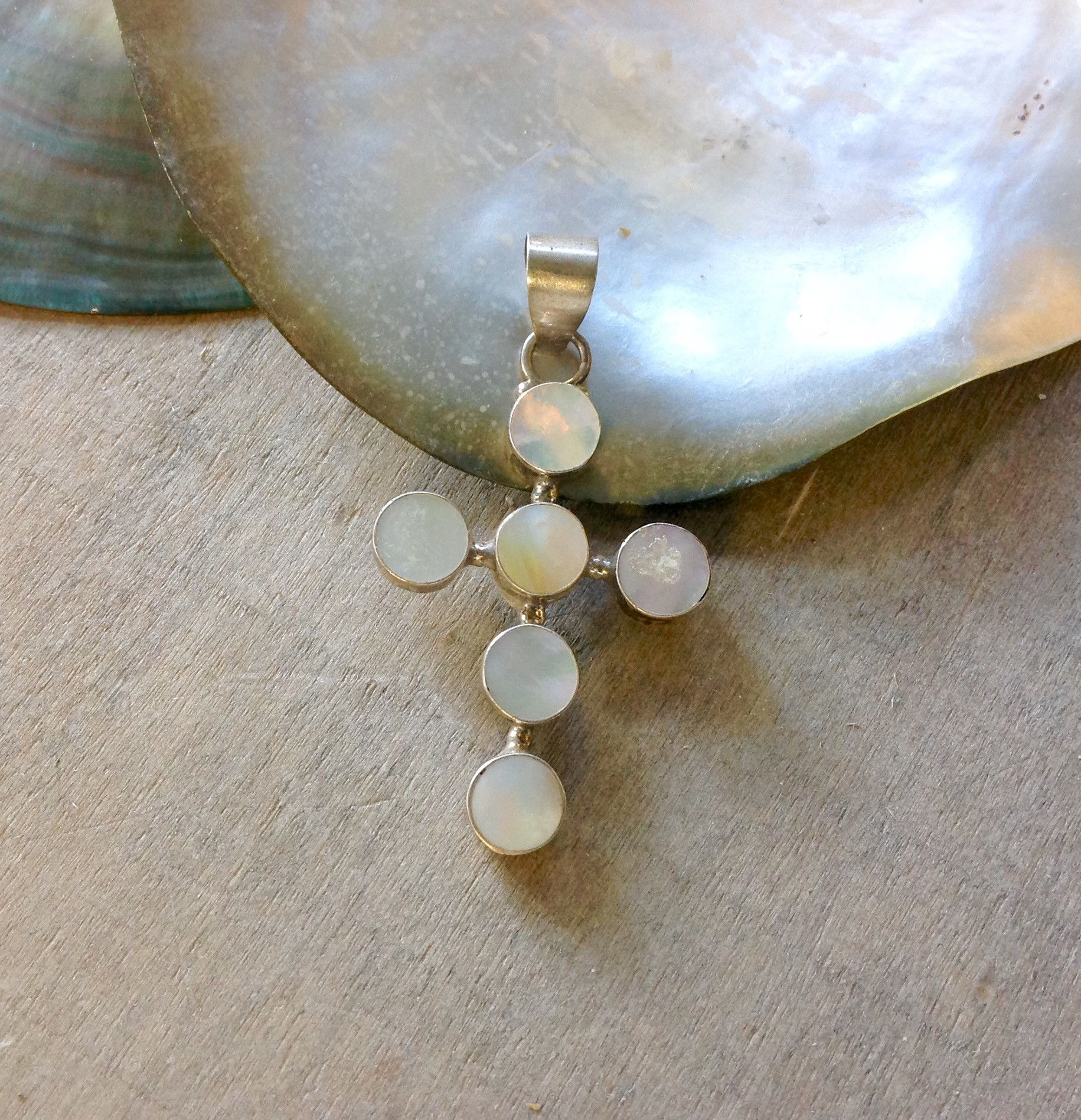 Mother of pearl cross pendant pearls sterling sliver and pendants