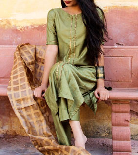Ihram Kids For Sale Dubai: Green Silk Gota Work Salwar Kameez With Dupatta