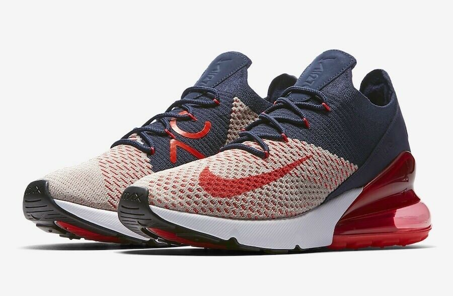 Womens Nike Air Max 270 Flyknit Red Navy White AH6803 200