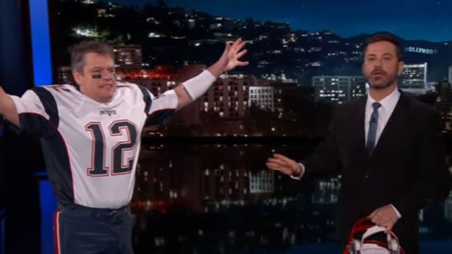 Watch Matt Damon Crash Jimmy Kimmel Live Disguised As Tom Brady Matt Damon Tom Brady Jimmy Kimmel Live