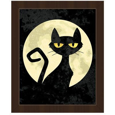 Click Wall Art Cat Framed Graphic Art On Canvas Frame Color Espresso Size 16 5 H X 13 5 W X 1 In 2020 Cat Wall Art Halloween Canvas Paintings Halloween Canvas