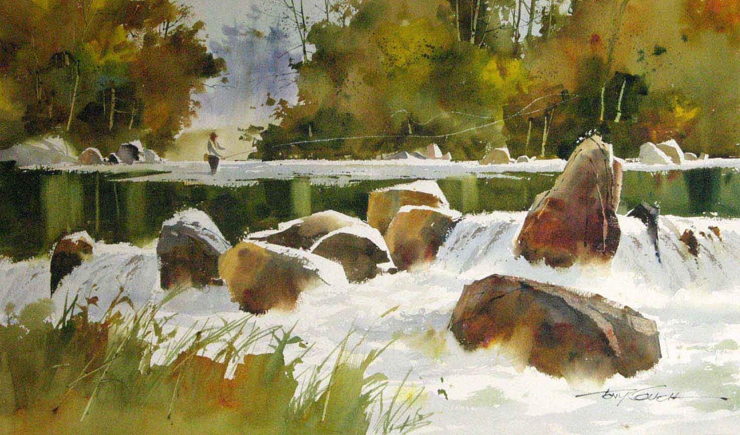 Tony Couch F02 Aquarelle Peinture Lac