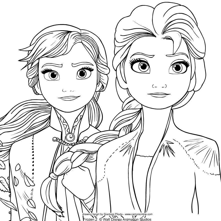 Dibujo De Elsa Y Anna De Frozen 2 Para Colorear En 2020 Con