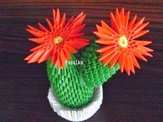 Kaktus Origami Modulowe Inne Kwiaty Znajdziesz Na Moim Blogu Jolciafasolcia Blogspot Com Origami Crafts 3d Origami Modular Origami