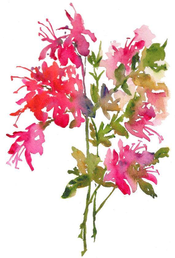 Fresh Pick Azaleas Watercolor Print 8x10 Watercolor Flowers Pink Flowers Watercolor Flowers Watercolor Print Floral Watercolor
