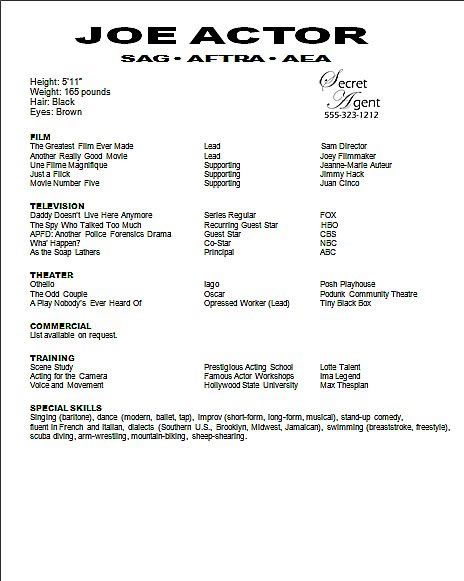 sample acting resume template apps directories doc theater - examples of acting resumes
