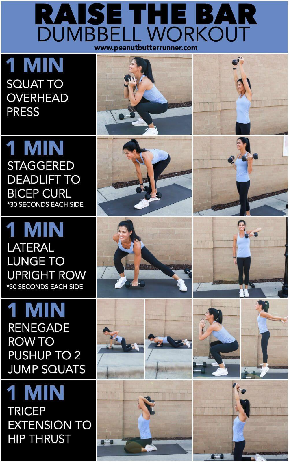 Raise The Bar Dumbbell Workout Dumbbellworkout Dumbbell Workout Workout Dumbbell Workout At Home