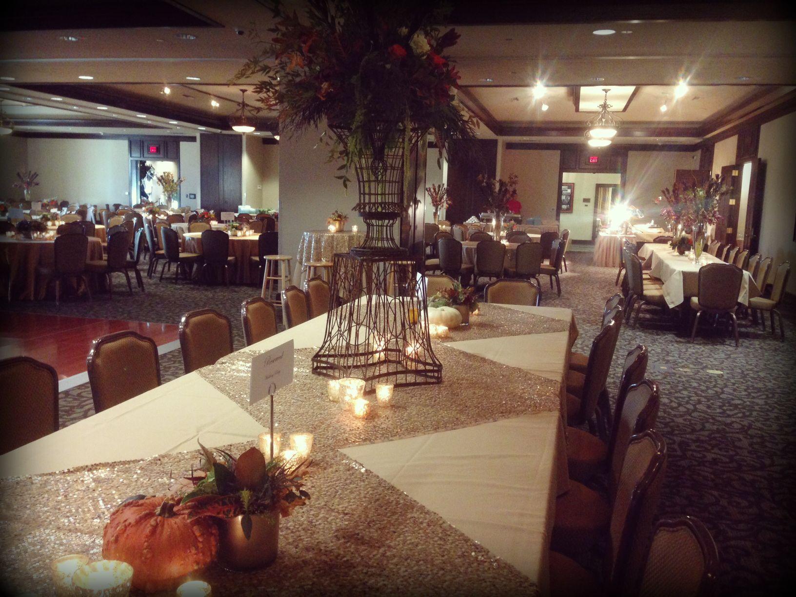Fall Inspired Wedding Reception Mckenzie Merket Alumni Center Top Tier Catering Wedding Inspiration Fall Table Decorations Reception