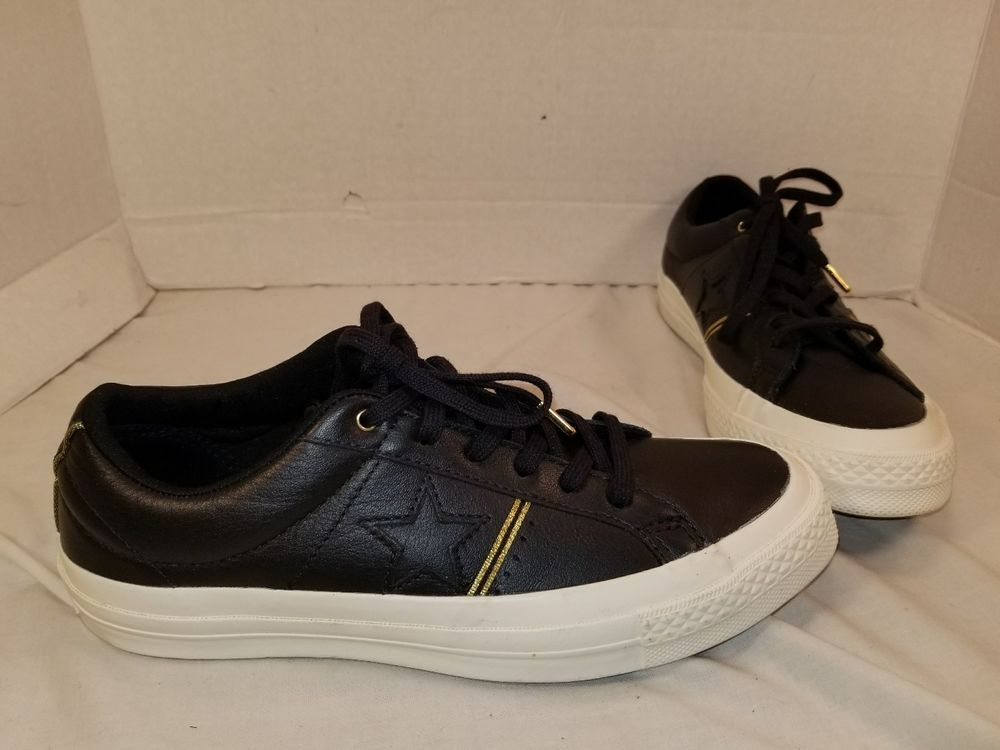 NEW CONVERSE ONE STAR BLACK GOLD LEATHER LO TOP SNEAKERS MEN S 6.5 WOMEN S  8.5  Converse  LOTOPSNEAKER 17163d915