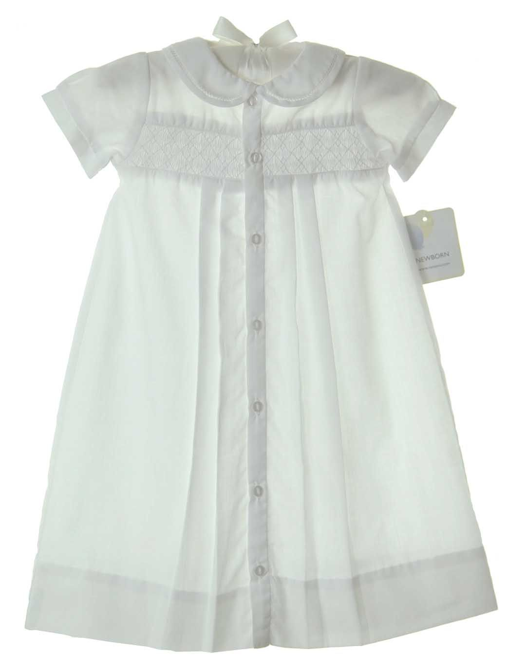 NB Feltman Brothers Baby Boy White Daygown with Blue Embroidery