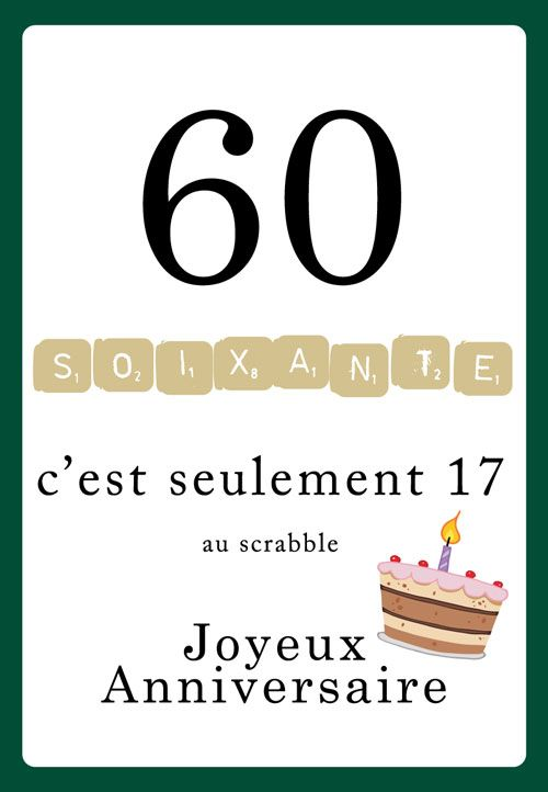 Carte Anniversaire Scrabble 60 Ans Layouts Carte