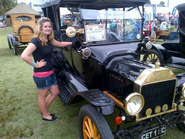 Gemma with an old Classsic Car