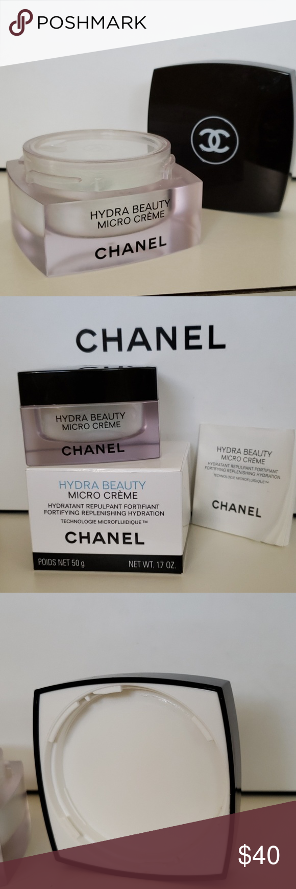 C H A N E L Hydra Beauty Micro Creme Empty This Is An Authentic Chanel Glass Jar Not Plastic That Has Been Properly Sto Chanel Hydra Beauty Creme Beauty
