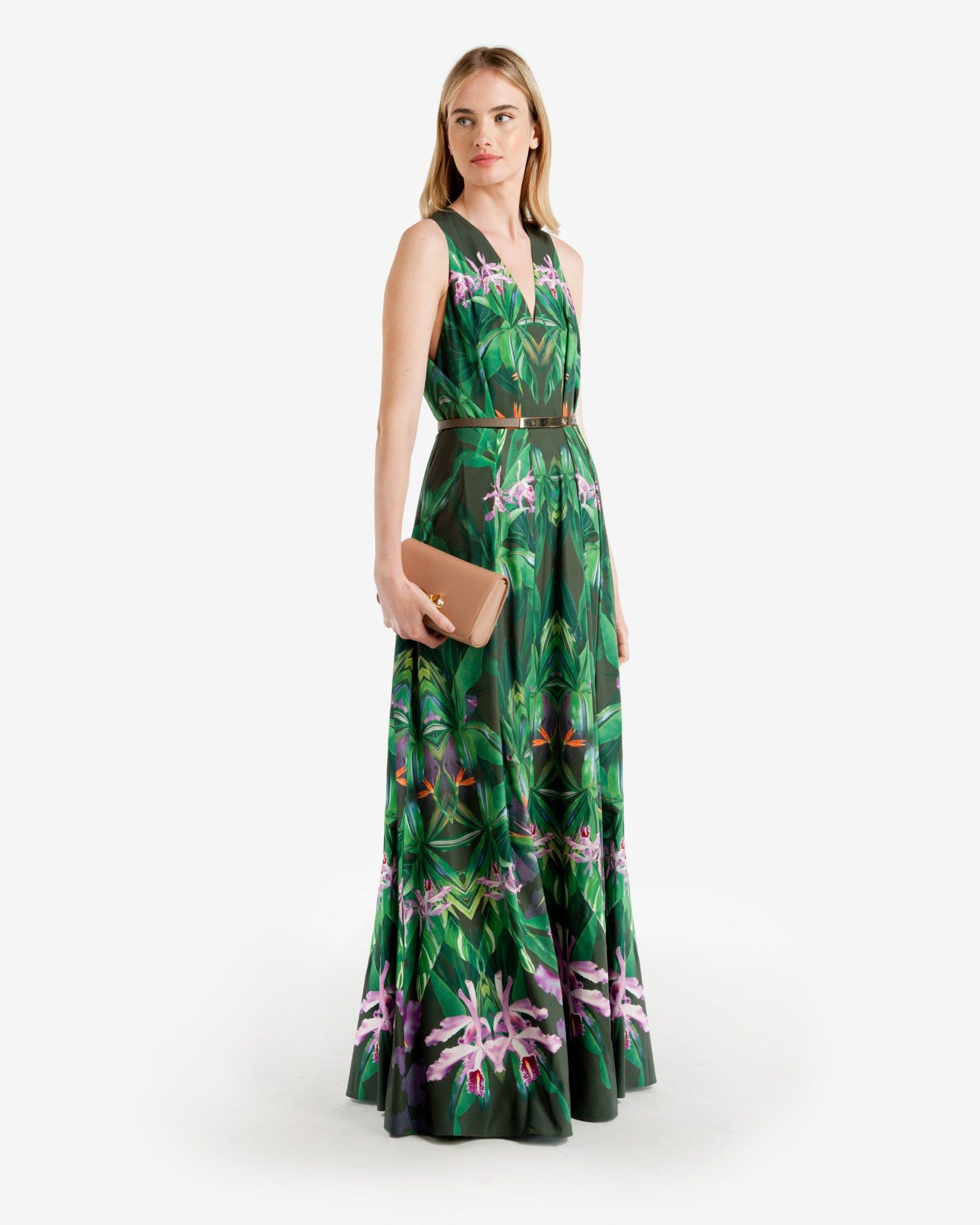 Ted Baker womenswear collection, Patterned Paradise print, V-neck, Sleeveless, Removable metallic bar belt, Pleated maxi skirt, Invisible back zip, Button and loop fastenings at back of neck, Our model is 5'10 and wears a size 2